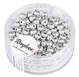 Rayher Hobby 14842606 Rocailles, 4mm ø, Silber matt, Dose 150Stück