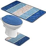 BADGARNITUR ORION 3-TEILIG BADMATTE, BAD SET BLAU STAND WC