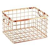 HomeDecTime Aufbewahrungskorb Metall Allzweckkorb Körbchen Drahtkorb Aufbewahrung Korb 33 × 28 × 20 cm - M-Rose Gold