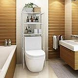 EBTOOLS Badezimmermöbel, WC-Regal, platzsparend, Regale für Waschmaschine, Badregal mit 3 Ablagen, 176,5 x 62 x 33,5 cm, Weiß