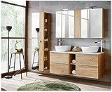naka24 Badmöbel Set Capri-B Eiche Gold 140 cm mit 2 Waschbecken LED Soft - Close (Waschtisch Spiegelschrank Hochschrank)