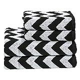 DONE Handtuch-Set Daily-Shapes-Zickzack 4 TLG. - 2 Handtücher 2 Gästetücher Gemustert - 100% Baumwolle - Schwarz, Anthrazit, Grau/Weiß, Farbe:Black/BrightWhite