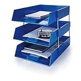 5 Star A4/Foolscap 203 x 330 mm blau Kunststoff-Tabletts, inkl. Metall-Abstandshalter. 3 Trays/2 Riser Sets blau