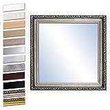 Bilderdepot24 Wandspiegel Spiegel Badspiegel Holzrahmen komplett mit Echtglas - Silber Antik - ca. 50x50 cm