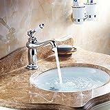Hiendure® Vintage Einhebelwasserhahn, Mischhahn, Waschbecken, Wasserhahn mit Porzellan, Chrom