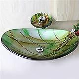 HomeLava Modern Waschbecken Set Glas Oval mit Wasserfall Wasserhahn,Ablaufgarnitur, Montagering