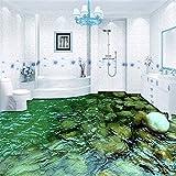 Benutzerdefinierte Bodenbelag Wandbild Tapete HD Natürliche Landschaft Stein Wasser Badezimmer Küche Boden Aufkleber Malerei PVC Wasserdichte Tapete, 300 * 210 cm