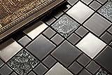 Complement 10cm x 10cm Muster. Glas und Edelstahl Mosaik Fliesen Muster in Schwarz und Silber (MT0002 Probe)