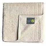 wellyou Vegan Duschtuch, Vegane Duschtucher-Set für Damen und Herren - Ewachsene, Kinder, Baby aus 100% Bio-Baumwolle mit Vegane Material Duschtuch 70x140, Natur