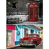 GREAT ART® Set mit 2 Poster – Bansky Graffiti & Havanna Illustration – Telefonzelle Oldtimer Rot Hintergrund Fotoplakat Dekoration Bild Wanddeko (Din A2 - 42 x 59,4)