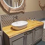BestLoft Waschtischplatte (Länge: 160 cm/Breite: 55-60 cm) Waschtisch Eiche massiv 40 mm dick mit Baumkante - rustikale Waschtischkonsole