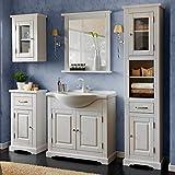 Lomadox Landhaus Badmöbel Komplettset Massivholz weiß Gebleicht, 85cm Waschtischunterschrank inkl. Keramik-Waschbecken