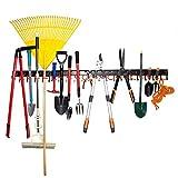 Gartenwerkzeug-Organizer, Ganzmetall-Garagen-Organizer, verstellbares Aufbewahrungssystem, Garagen-Wand-Organizer für Rechen, Besen und Gartenwerkzeuge, 173 cm, Schwarz