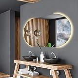 Alasta Spiegel | Baltimore Badspiegel 80x80cm mit LED Beleuchtung | LED Farbe Weiß Warm | LED Spiegel