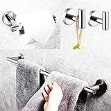 UMIRIO Badezimmer-Zubehör-Set (4-teilig), Chrom, Handtuchhalter-Set, 61 cm, Badezimmer-Hängeset, Toilettenpapierhalter, Badezimmer-Handtuch-Wandhaken zum Aufhängen, 2 Stück, Wandmontage, Edelstahl