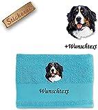 Handtuch Duschtuch Badetuch Berner Sennenhund M1 + Wunschtext (Duschtuch (70x140cm), Hellblau)