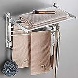 JRMM Handtuchstange mit Ablage Schwarz - Handtuchhalter mit 5 Handtuchstangen 180° drehbarer für Bad, Handtuchablage Badezimmer Wandmontage/Selbstklebend,AluminiumSilver-40cm