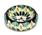 Calia - Dunkelblaues Talavera Keramikwaschbecken, Mexikanische Rund Aufsatzwaschbecken   40 cm Keramik Talavera Waschbecken aus Mexiko   Ideal badezimmer mit, zementfliesen, rustikal unterschrank