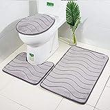 MANNUOSI Badteppich-Sets 3-teilige rutschfeste und wc Teppich Set 3er-Pack Badteppiche Set U-Form konturiert badematten & badteppiche Teppiche(Grau)