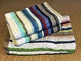 Handtuch-Set, umweltfreundlich, gestreift, 100 % Baumwolle, recycelt, 4-teilig