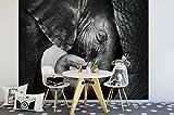 awallo Fototapete – Motiv «Elefanten» in Schwarz, Weiß   336x260cm   XXL Bild-Tapete Wand-Bild Digitaldruck   hochwertige Vliestapete – Made in Germany   einfache Verarbeitung