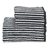 DONE Handtuch-Set Daily-Shapes-Stripes 4 TLG. - 2 Gästetücher 2 Handtücher gestreift - 100% Baumwolle - Schwarz, Anthrazit, Grau/Weiß, Farbe:Anthracite/BrightWhite