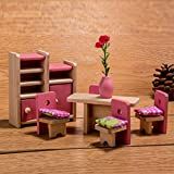 HorBous Puppenhausmöbel Set Holz Puppenhaus Kinderzimmer Badezimmer Schlafzimmer Wohnzimmer Küche Miniatur Möbel Zubehör Puppenhausmöbel Holz (Bibliothek)