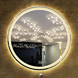 GETZ Runder LED Bad Spiegel mit Dimmfunktion und 3 Lichtfarben, Berührungssensorschalter, Wandspiegel Badezimmerspiegel LED, Mehrfachauswahl
