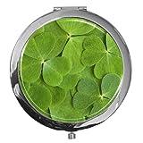 metALUm Premium - Taschen - Spiegel aus verchromten Metall mit leuchtend grünen Kleebläätern und edler, hochglänzender Kunstharzbeschichtung - ein tolles Accessoire für jede Frau oder als besonderes Geschenk für das ganz große Glück