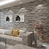 baporee Stein-Tapete des Ziegelstein-3D des Staplungs-Moderne Tapeten-Wand-Tapeten-Wand-Tapeten-Ziegelstein-Wand-Tapete-graues für Wohnzimmer