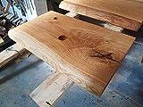 Waschtischplatte Eiche massiv Baumkante geölt Holz Aufsatzwaschtisch (Bohrung Abfluss/Armatur)