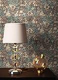 NEWROOM Tapete Grün Vliestapete Mosaik - Fliesenoptik Vintage Braun Blau Fliesen Blumen Muster Floral Blumentapete Mustertapete inkl. Tapezier-Ratgeber