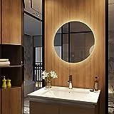 Meykoers Wandspiegel Badezimmerspiegel LED Badspiegel mit Beleuchtung Spiegel Rund 60cm mit Touch-Schalter, Badspiegel Rund Kaltweiß 6400K