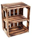 flambierte/geflammte Massive Obstkisten als Regal oder als Klassische Kiste ca 49 x 42 x 31 cm/Apfelkisten Weinkisten aus dem Alten Land (1 Stück geflammte offen mit Quer Einlage)