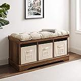 Eden Bridge Designs Bank für den Eingansgbereich mit Lagerungsmöglichkeiten, Holz, Rustikale Eiche, 106.68 x 40.64 x 45.72 cm