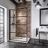 Schulte Black Style Walk In, 120 x 200 cm, Sicherheits-Glas Dekor Atelier 2, Profilfarbe schwarz-matt