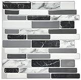 Art3d 30 * 30 Backsplash-Fliesen für die Küche schälen und aufkleben, Marmorgrau (10-Blatt)