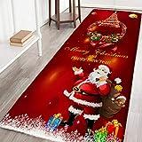 Lucoss Weihnachtsteppich Flanell Badematte Saugfähig Gummi Rutschfest Rückseite Matte für Küche 60 x 180 cm