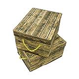 Trademark Innovations 2er Set Deko Holzoptik Aufbewahrungsbox Set mit Deckel
