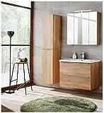 naka24 Badmöbel Set Capri Eiche Gold 80 cm mit Waschbecken (Waschtisch Spiegelschrank Hochschrank)