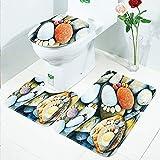 LAOSHIZI Neu rutschfest Sanft Badteppich Kieselstein Schön 3er-Pack Badteppiche Set U-Form konturiert WC-Matte Teppiche Deckelabdeckung Kieselstein