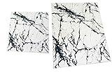 CARPETIA Badematte Badgarnitur Set 2-teilig Duschvorleger Badteppich waschbar marmor Weiss schwarz Größe 50x60cm + 60x100 cm