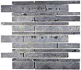 Mosaik Fliese Schiefer Naturstein Brick Schiefer schwarz Wandverkleidung Küchenfliese MOS34-0206