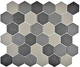 Mosaik Fliese Keramik Hexagon grau dunkelgrau schwarz unglasiert für BODEN WAND BAD WC DUSCHE KÜCHE FLIESENSPIEGEL THEKENVERKLEIDUNG BADEWANNENVERKLEIDUNG Mosaikmatte Mosaikplatte