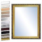 Bilderdepot24 Wandspiegel Spiegel Badspiegel Holzrahmen komplett mit Echtglas - Gold Antik - ca. 60x50 cm