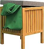 EISL Wäschekorb Bambus Wäschesammler mit Sitzkissen nachhaltige Badmöbel Bambus Wäschebox mit Deckel BMBA02-WKBH Hellbraun (B x H x T): ca. 39 x 52 x 39 cm