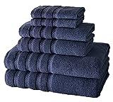 Classic Turkish Towels Hotel und Spa 4-teiliges Badetuch-Set – strapazierfähig und schnell trocknend, aus 100% türkischer Baumwolle (Marineblau, 6-teiliges Set)