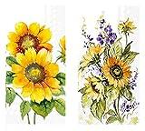 Gästetücher, Einweg-Sonnenblumen-Dekoration, sortiert, für Frühling, Sommer, Herbst, Herbst, Dekoration, 32 Stück