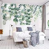 Tapeten Wandbild Hintergrundbild FototapeteBenutzerdefinierte Pflanzen Schlafzimmer Wohnzimmer Wand Handgemalte Aquarell Grün Pflanzen Blatt Hintergrund Wandtapete Wohnkultur, 300 * 210 Cm