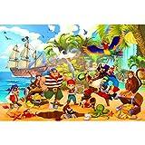 GREAT ART® XXL Poster Kinderzimmer – Piraten – Wandbild Dekoration Abenteuer Piratenschiff Schatzinsel Kinder Jungen Mädchen Illustration Comic Wanddeko Bild (140 x 100 cm)